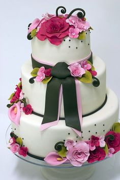 Ribbon and Roses Wedding Cake by studiocake, via Flickr