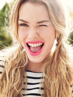 Pink lips, breton stripes & a great big smile