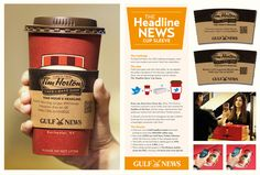 The headline news cup sleeve gets printed with the latest tweets from a local newspaper and distributed to customers at a local coffee chain. It also includes a link to their site to read more news. Brilliant!