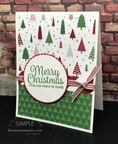 Quick & Easy Christmas cards using Be Merry DSP and Snowflake Sentiments from Stampin' UP! Card tutorials, craft tips, and Stampin' Up products Stamped Christmas Cards, Simple Christmas Cards, Homemade Christmas Cards, Xmas Cards, Homemade Cards, Handmade Christmas, Holiday Cards, Christmas Diy, Cards Diy