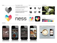 Brand identity for Ness, a dining guide app. By Moving Brands. Web Design, Design Logo, Brand Identity Design, Graphic Design Branding, Identity Branding, Brand Design, Visual Identity, Packaging Design, Corporate Design