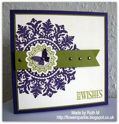 Flower Sparkle: Medallion & Butterfly Best Wishes Card