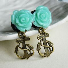 0g 8mm Turquoise Rose and Anchor Plugs for by theriveriseverywhere, $25.00