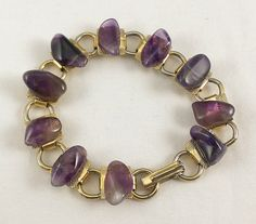 Gold Amethyst Bracelet Chain Link Natural Semi by TheArtisanal