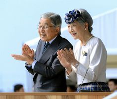 Japanese Emperor Akihito and Empress Michiko attend the meeting on fertilizing the sea at Itoman Sea Port on 18 Nov 2012 in Okinawa