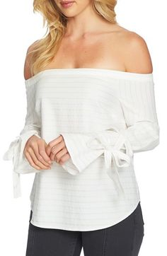Free shipping and returns on 1.STATE Off the Shoulder Top at Nordstrom.com. Combining two favorite trends—off-the-shoulder and tied bell sleeves—this contemporary top is super chic in a Lurex® metallic-striped shirting fabric.