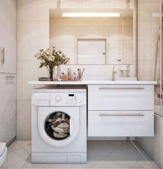 Ideas Bathroom Storage Washing Machine Small Laundry Rooms For 2019 Laundry Bathroom Combo, Modern Bathroom Sink, Small Laundry Rooms, Laundry Room Design, Bathroom Layout, Bathroom Interior Design, Bathroom Storage, Cabinet Storage, Bathroom Vanities