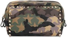 $725 Rockstud Camouflage Nylon Make-Up Bag