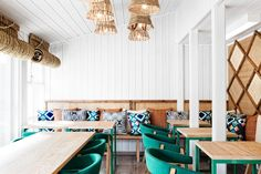 restaurant design in oslo, restaurant design sweden, cool restaurant design , masquespacio, white green design, ikat prints decor, rafia lamps