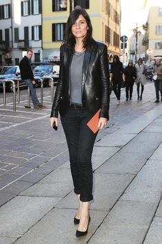 Look at that leather blazer. Awesome. The Emmanuelle Alt Look Book / The Cut