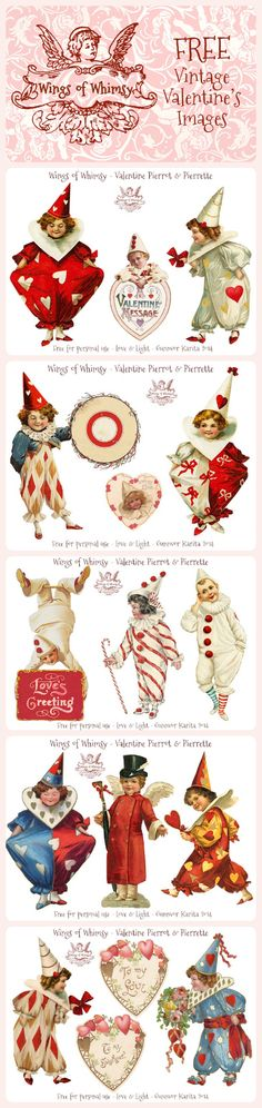Vintage Valentine Pierrots & Pierrettes - free for personal use - Imagine all the fun Valentine's Day Cards and decor you could create with these fun images!