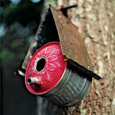 Create a birdhouse with a vintage oil can and salvaged materials.  Recycle, Repurpose!  For goods and ideas shop at Estate ReSale & ReDesign, LLC in Bonita Springs, FL