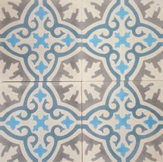 These beautiful, handcrafted Cement Tiles are primarily used as floor coverings but can also be used on the wall. Cement tiles are not fired and they derive their durability from the combination of ground cement. The pigment is hydraulically pressed into the surface and becomes part of the tile. http://www.terrazzo-tiles.co.uk/havana-celeste-blue-encaustic-cement-tile.html