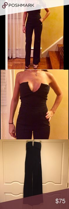 """Trina Turk Jumpsuit Black ▪️ jumpsuit with a V cut out bust - Trade in your LBD for this sexy elegant jumpsuit by Trina Turk . Worn once in great condition! I'm 120 lbs , 5'5 1/2"""" . Fabric : 58% Rayon ; 30% Nylon ; 12% Spandex Made in LA Trina Turk  Pants Jumpsuits & Rompers"""