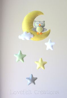 Baby Mobile - Owl on a Crescent Moon with stars by LoveFeltXoXo