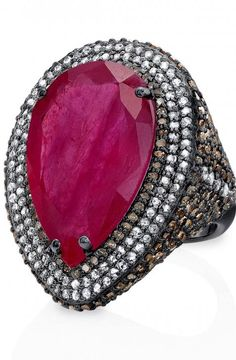 18 KT black gold ruby ring with pave and champagne rose-cut diamonds from the Rouge Collection by Bavna
