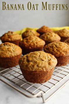 Whether you are looking for a grab and go breakfast or something for a leisurely weekend brunch, these banana oat muffins are perfect! Banana Oatmeal Muffins, Healthy Banana Muffins, Healthy Breakfast Muffins, Banana Oats, Banana Breakfast, Oatmeal Chocolate Chip Cookies, Gluten Free Banana, Oat Cookies, Breakfast Casserole