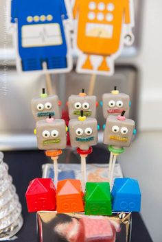Awesome cake pops at a robots birthday party! See more party planning ideas at CatchMyParty.com!