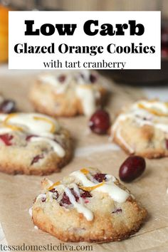 Quick and easy buttery cokies with no sugar and plenty of orange goodness! An orange cream cheese glaze sets the whole thing off! Paleo Chocolate Chip Cookies, Paleo Cookies, Oatmeal Raisin Cookies, Gluten Free Cookies, Paleo Recipes, Real Food Recipes, Orange Cookies, Cream Cheese Glaze, Cookie Bars