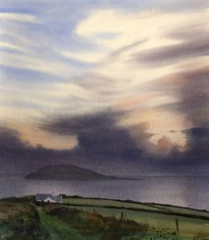 Day's end. Enlli, an original watercolour painting by Rob Piercy