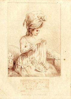 A woman wearing a hat seated by a table embroidering a cloth. 1778 Stipple printed in red-brown ink
