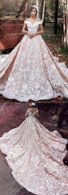 2018 A-Line Off the Shoulder Ball Gown Court Train Tulle Appliques Wedding Dresses PH537 #offshoulder #appliques #ballgown #pink #beautiful #promdress #weddingdress