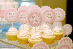 Custom Cupcake Toppers  Pink Chevron  Baby by TheSisterStudio, $10.00