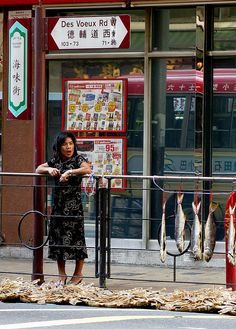 typical day in hong kong, a woman framed by street signs and dried seafood, with a reflection of a minibus in the background     My style is food that look as great as the taste.  I find many at http://looksgoodtastesgreat.com/