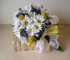 yellow and denim wedding | Country Rustic Silk White Daisy Wedding Bouquet with Denim Accents ...