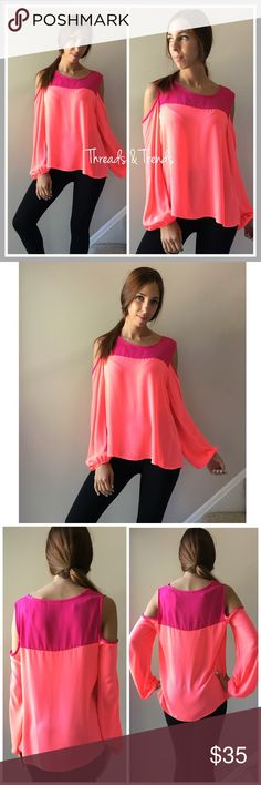 "Coral Cold Shoulder Blouse Two toned hot pink and coral cold shoulder blouse. Made of a light chiffon material. Sleeves cinch  at the hems.                                         S Bust 38"" Length 25""  M Bust 40""  Length 26"" striped Tops Blouses"