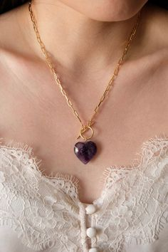 18K Gold Filled Amethyst Paperclip Necklace Gold Filled Chain, Gold Filled Jewelry, Rose Quartz Heart, Paper Clip, Necklace Lengths, 18k Gold, Amethyst, A Table, Solid Gold