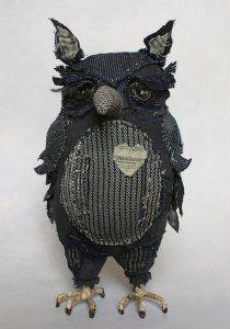Sri Owl - handmade by Ann Wood Fabric Birds, Fabric Art, Ann Wood, Wood Owls, Owl Always Love You, Owl Crafts, Painting Collage, Art Textile, Owl Bird