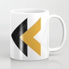 Forward marble yellow arrows Coffee Mug by byjwp Travel Mugs, Wraparound, Xmas Gifts, Stocking Stuffers, Microwave, Dishwasher, Coffee Mugs, Marble, Cups
