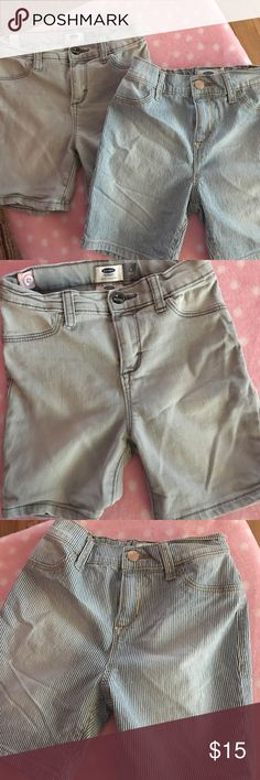 Girls shorts 2 pairs of size 8 girls Jean shorts - NWOT one pair is light gray the other is blue and white railroad stripes Old Navy Shorts Jean Shorts