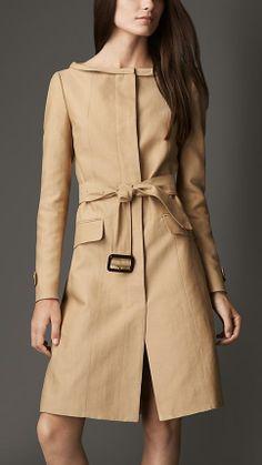 Burberry Dipped Collar Cotton Silk Coat