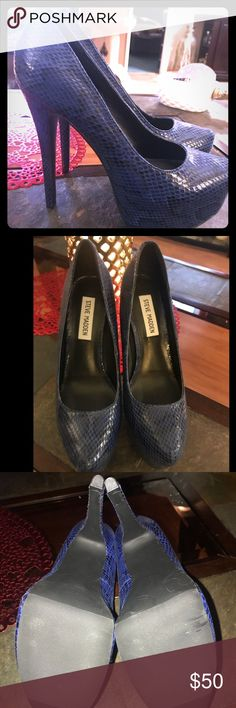 Steve Madden snakeskin pumps Steve Madden pumps Blue snakeskin Women's 8.5 *BRAND NEW/NEVER WORN No box  I just have so many. I really want these to go to a good home👠 Steve Madden Shoes Heels