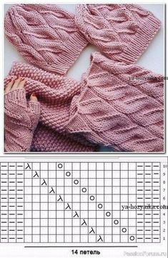 Шапочка и снуд связанные узором лало-коса. Схема Cable Knitting, Baby Hats Knitting, Easy Knitting, Crochet Hats, Crochet Stitches Patterns, Knitting Stitches, Knitting Designs, Stitch Patterns, Crochet Shawl Diagram
