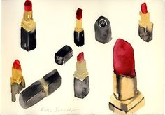 My Chanel red lipstick No 88 Saturn Watercolor by Kate Schelter