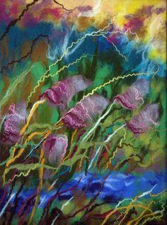 Felt picture, purple flowers, underwater blue, white snow, lilies, rain
