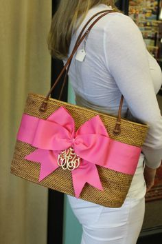 Monogrammed straw and bow purse. Like the monogram but not sure about the bow.