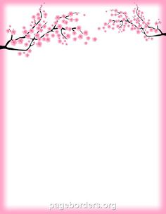 Printable cherry blossom border. Free GIF, JPG, PDF, and PNG downloads at http://pageborders.org/download/cherry-blossom-border/: