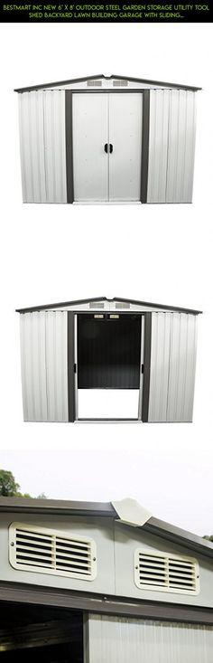 Bestmart INC New 6u0027 X 8u0027 Outdoor Steel Garden Storage Utility Tool Shed  Backyard