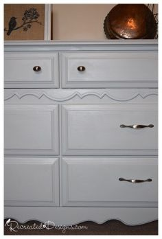 Using Fusion Mineral Paint in Sterling and some new brushed silver hardware to bring a 1980s dresser into this century by Recreated Designs.