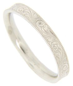 A flowing, curving floral motif is worked onto the surface of this white gold antique style wedding band. The wedding ring measures in width. Size: 8 Cannot be re-sized but we can reorder. Rings Cool, Pretty Rings, Unique Rings, Stoneless Engagement Ring, Art Nouveau, Diamond Promise Rings, Bridal Rings, Wedding Bands, Wedding Ring