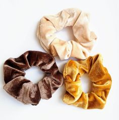 Beautiful, Luxurious, Soft Scrunchies  Mustard Velvet Scrunchie, Brown Velvet Scrunchie, Champagne Scrunchie  Our Premium scrunchies are much kinder than regular elastics = less snags and breakage. Super comfortable to wear!  ♥OEKO-TEX Certified elastic that we use sets us apart from others. ♥Soft & stretchy and extremely gentle to your hair and skin. ♥Super comfortable to wear. ♥Perfect for working out, and everyday use. ♥Great for all hair types, ages and they make great gifts!
