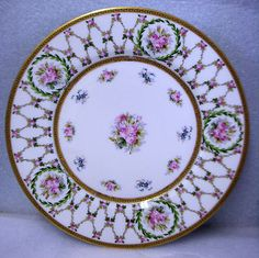 Limoges France Stunning Handpainted Plate Roses Wreaths Swags Kennard St Louis | eBay