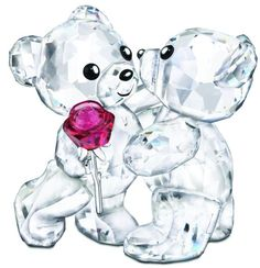 Swarovski Kris Bears - A Rose For You - 2 Swarovski Bears with Rose.  Swarovski Crystal Figurines.