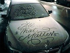 Typography on frosted car