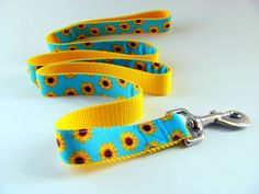 Sunflowers Dog Leash  Matches Dog Collar by CollarHabit on Etsy, $25.99