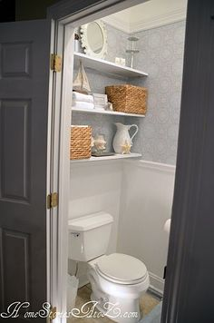 Half Bath Reveal and (Semi) Floating Shelves.  Like this idea for basement powder room.